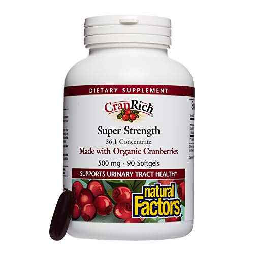 Natural Factors - CranRich Super Strength, Made with Organic Cranberries, Supports Urinary Tract Health, 90 Soft Gels (Natural Cranberry Factors)