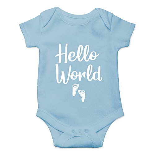 CBTwear Hello World - Newborn Coming Home Outfit - Cute Infant One-Piece Baby Bodysuit (Newborn, Light Blue)