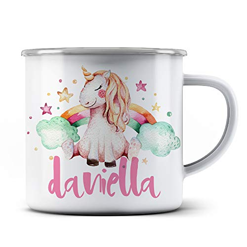 Rainbow Unicorn PRIDE Personalized Stainless Steel Camping Coffee Mugs with Name FREE CUSTOMIZATION- 9oz -Christmas Gifts, Birthday Gifts, Campfire Favors - 3 Different Designs - D3 -