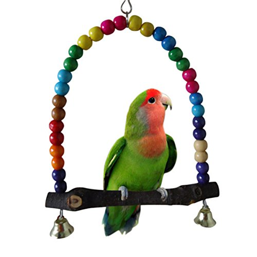 Yosoo Multi-color 14cmx14.3cm Wooden Bird Swings Budgie Toys Bird Swings for Parakeets