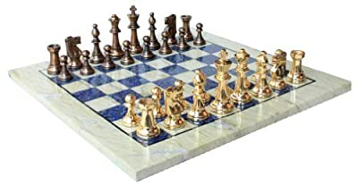 "15"" X 15? Collectible Chess Game Board Set made with Australian Marble, Lapiz Lazuli + Brass Pieces (Delivery < 7 Days)"