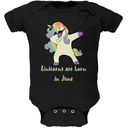 Old Glory June Birthday Dabbing Unicorn Sunglasses Soft Baby One Piece Black 0-3 - Sunglasses Month 3 Old