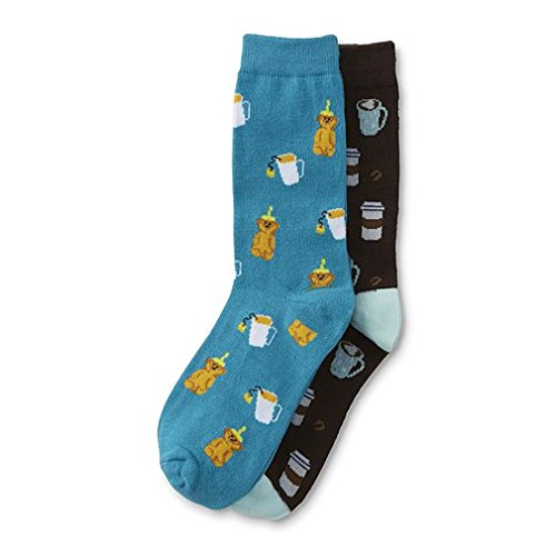 Funny Novelty Crew Socks for Women and Teens Size 5-11 (2 Pairs) (Coffee/Tea) -
