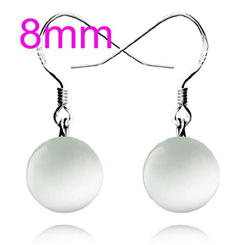 Fashion jewelry Girl woman Red agate Drops water Opal cat's eye 925 sterling silver Stud ()