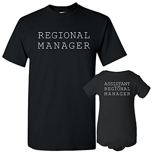 UGP Campus Apparel Regional Manager, Assistant Regional Manager - Funny Joke Adult T Shirt & Infant Onesie Bundle - Black - Adult S/Newborn