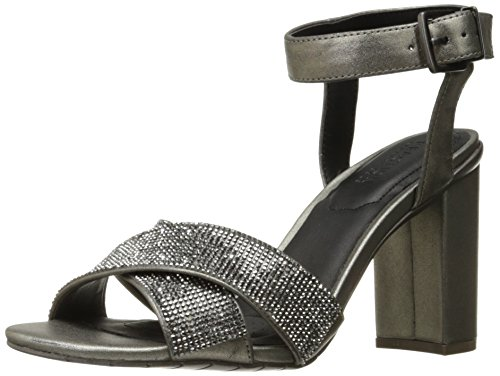 Kenneth Cole REACTION womens Crash Jewel Glitzy Dress Sandal X-band Strap With Mini Jewels on High Heel Hematite 57Mh7vH