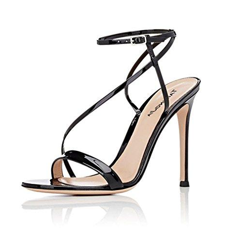 CLOVER A Noir Femmes LUCKY Chaussures PU Filles Sexy Cour À E34 Couleur Talon Sandales Dames Talons Aiguille E46 Orteils Ouverts Hauts Black EU45 Or 5dxxAq