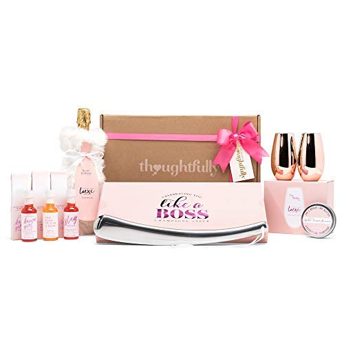 Thoughtfully Gifts, Champagne Gift Set, Includes 2 Rose Gold Champagne Glasses, 3 Champagne Mixers, Metal Champagne Opener, Rimming Sugar and Wine Bag