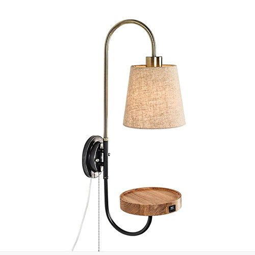 HOMEE Wall lamp- simple modern creative nordic wood art wall lamp bedside bedroom living room aisle wall lamp (2 styles available) --wall lighting decorations,#1 by HOMEE