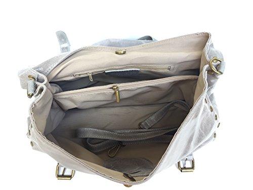 Spalla Borsa Vera A Rodeo Grigio Modello In Pelle Superflybags Italy Made AqwE7xE