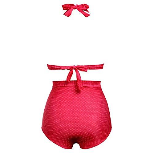 Miki Da Women Vintage 50s Pin up 2 Piece Girl High Waist Bikini Swimsuit Set (Pin Up Girl Website)