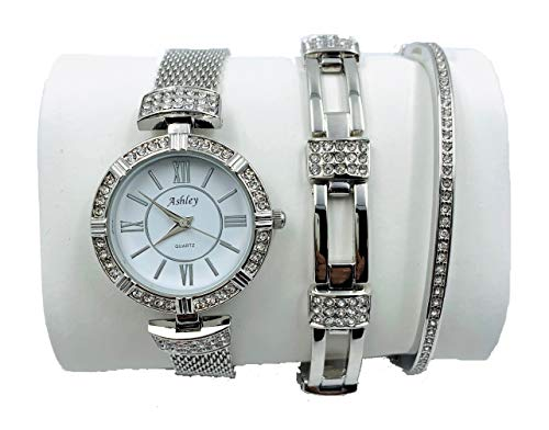 Ashley Silver Bracelets - Ashley Princess Women's 3 Piece Watch & Jewelry Gift Set, Mother's Day Special - Silver - 8891