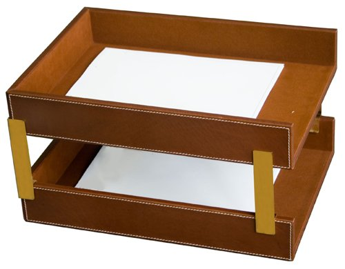 Rustic Genuine Leather Executive Double Front-Load Tray, Legal Size, Brown
