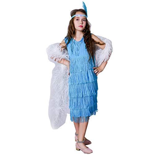 flatwhite Girl 's Fashion Flapper Satin Dress Costume for Children (4-6 Y, Blue) -