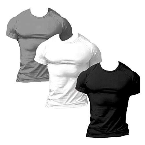ZUEVI Men's Various Colors Cotton Slim Fit Athletic Bodybuilding T-shirts(Black&White&Gray-XL-L)