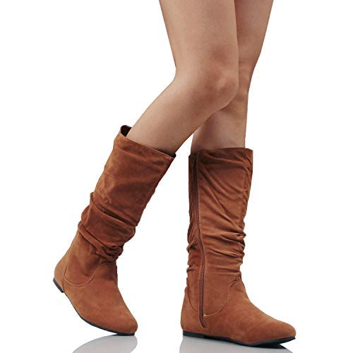 ad2e14b151f Guilty Heart Womens Winter Lightweight Mid Calf Knee High Comfortable  Slouchy - Walking Flat Heel Fashion Boots Boots - Casual Women s Shoes