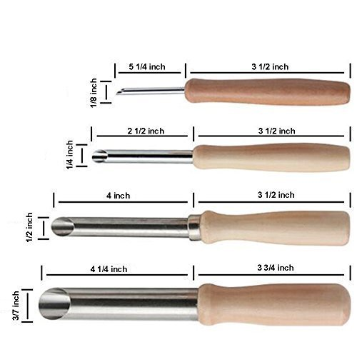 BCP Pack of 4 Stainless Steel and Wood Circular Clay Hole Cutters for Pottery and Sculpture