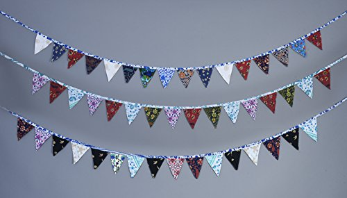 11 Feet Indian Mandala Printed Fabric Banner Colored Pennant Flag Vintage Triangle Bunting Hanging Cotton Mandala Garland for Baby Birthday Shower Wedding Themed Party Window Decorations(Multi-colored