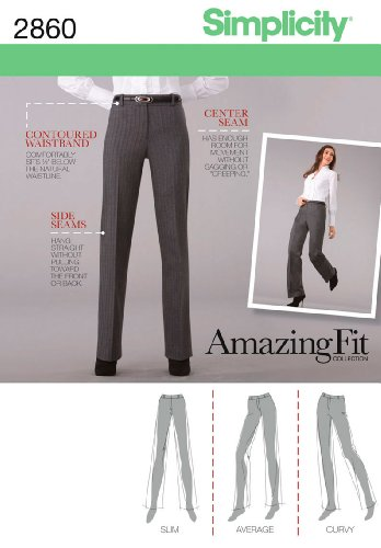(Simplicity Amazing Fit Pattern 2860 Misses Miss Petite Pants with Individual Pattern Pieces Sizes 14-16-18-20-22)