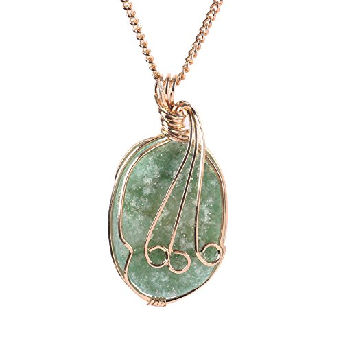 Bonnie Emerald Raw Stone Necklace Natural Agate Irregular Geode Slice Pendant Turquoise Crystal Necklace Jewelry (GOLD)