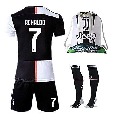 NTauthentic Juventus 7 Ronaldo Shirt Home Soccer Shirt for Kids/Youth with Socks & Shorts & Gym Bag 19-20 Season Black/White