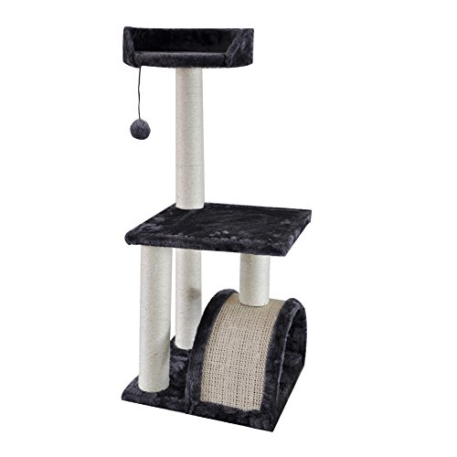 Roypet 32' Cat Tree with Scratching Pad and Perch, grey