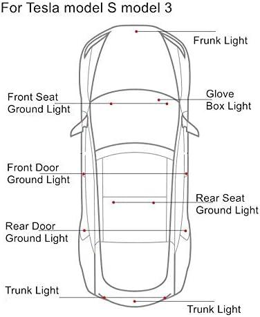 10 PCS Ultra-bright Interior LED Lights Bulbs Kit Trunk Frunk Lamp Easy-Plug for Tesla Model 3 Model S Model X