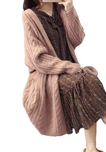 Maruy レディース ニットコート カーディガン コート 無地 ゆったり ひざ丈 ケーブル編み きれいめ 長袖 厚手 カジュアル 防寒 防風 おしゃれ 春 秋 冬