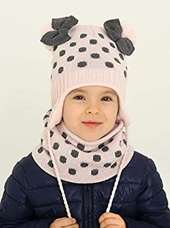 Ande Cute Girls Winter Set hat and Scarf Snood Warm Knitted Set Size 2 3 4 5 Years