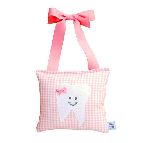 (Girl's Tooth Fairy Pillow in Baby Pink Gingham Print)