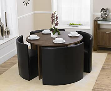 Awesome Oslo American Walnut Stowaway Dining Set With 4 Brown Chairs Home Interior And Landscaping Ologienasavecom