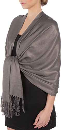 Sakkas Large Soft Silky Pashmina Shawl Wrap Scarf Stole in Solid Colors- Gray
