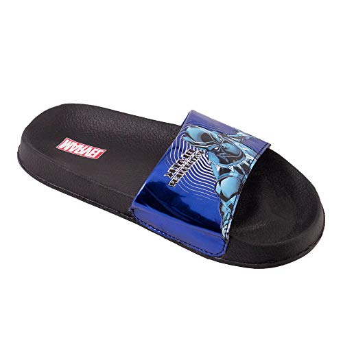 (Favorite Characters Black Panther Slide Sandal Black/Blue Little Kid (3 M US Little Kid))