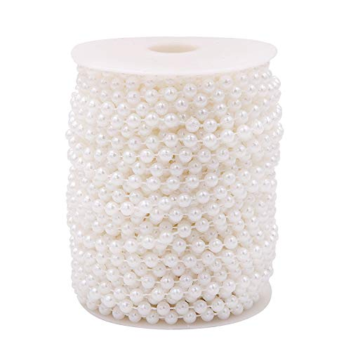 KINJOEK 6mm Ivory 82ft Faux Crystal Pearl Beads Chain Crafts by Roll 25m Pearl String for Flowers Garland Wedding Party Decoration Bridal Bouquet and Chandelier DIY ()