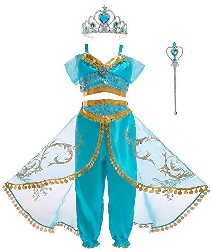 Soyoekbt Girls Princess Jasmine Costume Halloween Party Dress Up for Kids 7-8Years 130 Blue