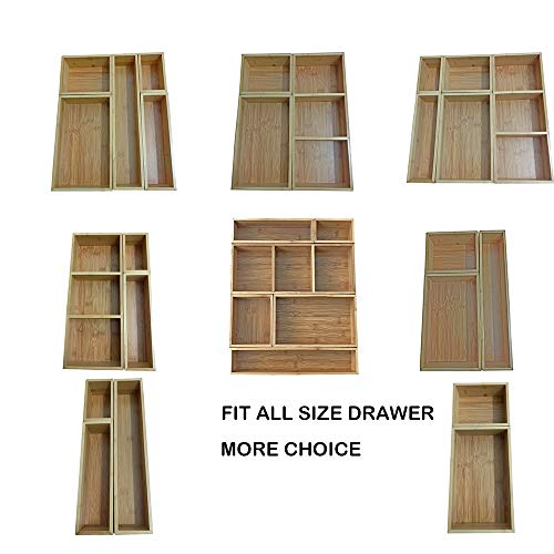 Bamboo Drawer Organizer and 6 Storage Box Dividers Set,8 Compartment Organization Tray Holder for Craft,Sewing,Office,Bathroom.Kitchen ... (L1)