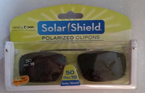 Solar Shield Polarized Clip-on Sunglasses 50 Rec 19 Gray Lenses Fits Full Frame