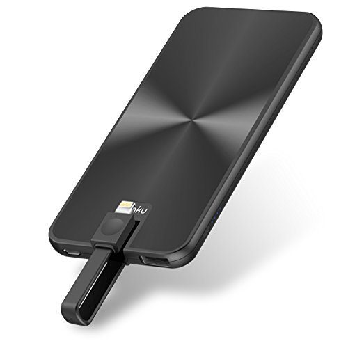 iPhone Portable Charger Power Bank - miraku M6 5000mAh External Battery Pack with Built-in Lightning Cable [Apple MFi Certified] 2 Ports for iPhone X,8,7 Plus,6,6S,iPad,iPod and Android Phones (Black)