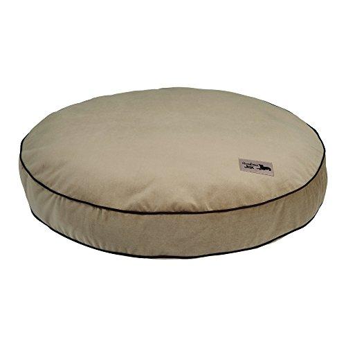 SlumberJax 32-Inch Round Pillow Dog Bed, Medium, Spa Pecan