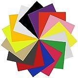 "Heat Transfer Vinyl Sheets 12""x12"" 15 Color for T Shirts, Zilong Iron On Vinyl for Silhouette Cameo & Cricut Starter BUNDLE"