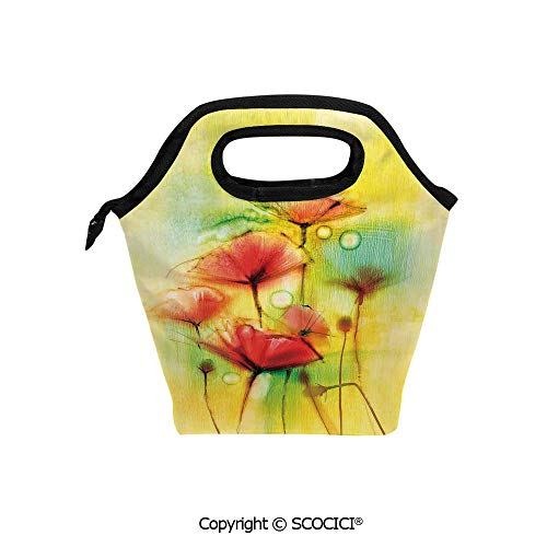 Printed Poppies Modern (Printed Pattern Portable Lunch Tote Bag Poppy Flowers Motif in Tones Spring Inspired Modern Picture insulation cold outdoor picnic lunch box bag.)