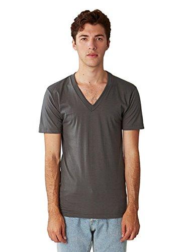 American Apparel Unisex Fine Jersey Short-Sleeve V-Neck (2456) - Asphalt - Large