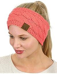 Soft Stretch Winter Warm Cable Knit Fuzzy Lined Ear Warmer Headband bd984a63a29