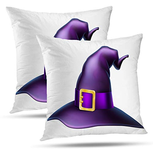 (Batmerry Halloween Thanksgiving Decorative Pillow Covers 18x18 inch Set of 2,Cartoon Halloween Hat Gold Witch October Purple Autumn Black Cap Throw Pillows Covers Sofa Cushion Cover)