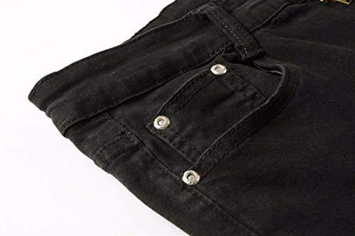 Denim Giovane Pantaloni Chern Jeans Holes Skinny Destroyed Uomo Nero Strech Fit Slim Cq0qxzwHO