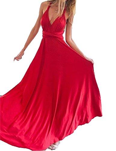 Haola Women's Summer Multi Worn Elegant Fashion Sleeveless Halter Bandage Ball Gown Dress S Red