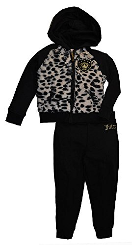 Juicy Couture Little Girls' 2 Piece Fleece Hooded Jacket with Faux Fur and Pant Set, Black, 4