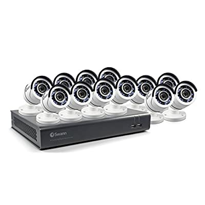 Swann SWDVK-1645912-US 16 Channel HD 1080p cctv Security System Kit DVR & 12 1080p Bullet cameras … by Swann