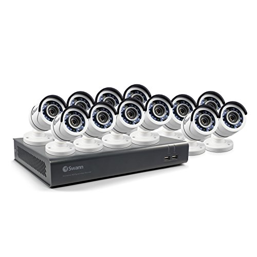 Swann 16-Channel, 12-Camera Indoor/Outdoor Wired 2TB DVR Surveillance System Black/white SWDVK-1645912-US