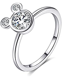 Women's Mickey Shape Rings Sterling Silver Plated Cubic Zirconia Mouse Ring for Women Girl Party Jewelry